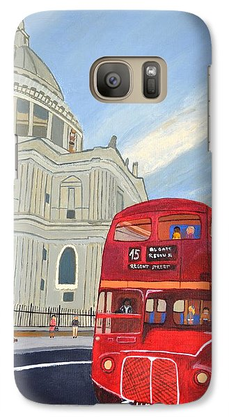 Galaxy Case featuring the painting St. Paul Cathedral And London Bus by Magdalena Frohnsdorff