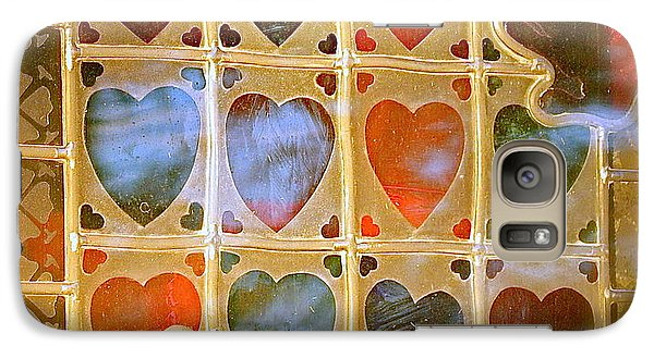 Galaxy Case featuring the photograph Stained Glass Hands And Hearts by Kathy Barney