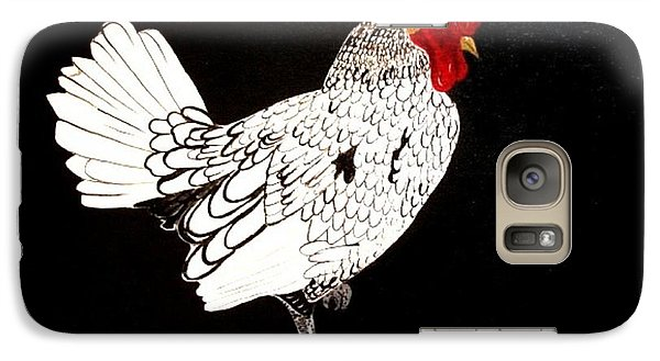 Galaxy Case featuring the painting Stained Glass Rooster by Cindy Micklos