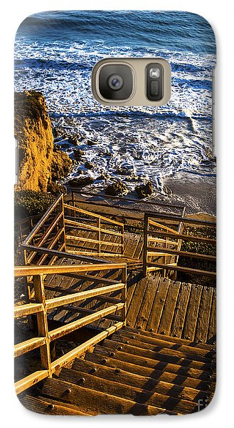 Galaxy Case featuring the photograph Steps To Blue Ocean And Rocky Beach by Jerry Cowart