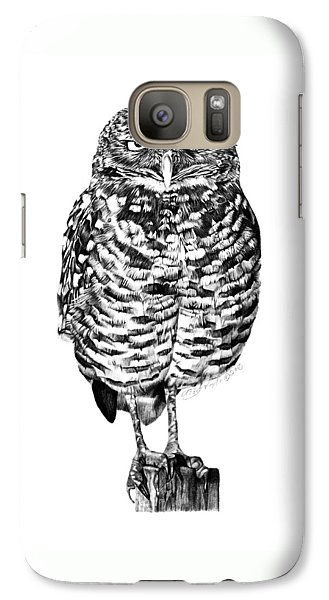 Galaxy Case featuring the drawing 041 - Owl With Attitude by Abbey Noelle