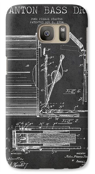 Drum Galaxy S7 Case - Stanton Bass Drum Patent Drawing From 1904 - Dark by Aged Pixel