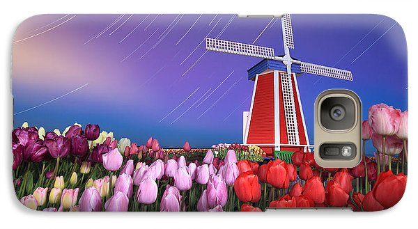 Galaxy Case featuring the photograph Star Trails Windmill And Tulips by William Lee