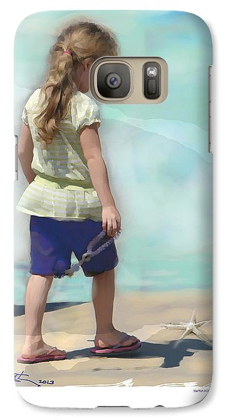 Galaxy Case featuring the painting Starfish In The Sand by Bob Salo