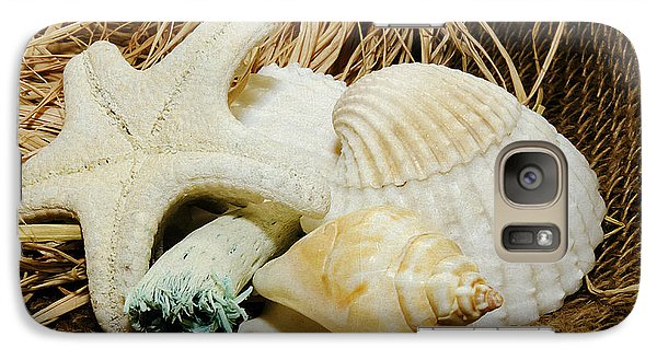 Galaxy Case featuring the photograph Starfish Shells And Driftwood by MaryJane Armstrong