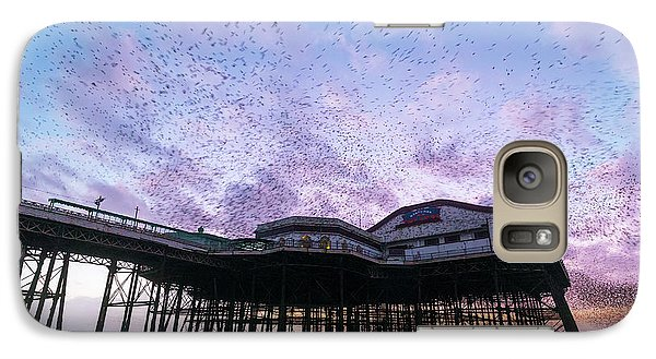 Starlings Galaxy S7 Case - Starling Flock Over Blackpool North Pier by Simon Booth