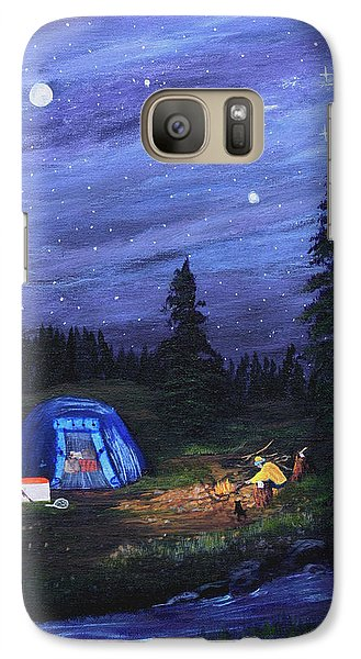 Galaxy Case featuring the painting Starry Night Campers Delight by Myrna Walsh