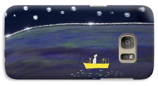Galaxy Case featuring the digital art Starry Night Fishing by Haleh Mahbod