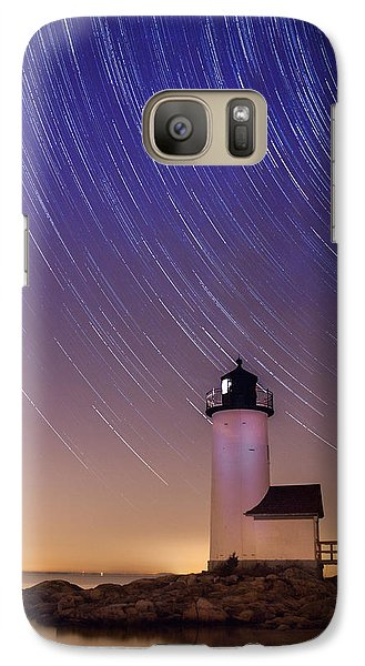 Galaxy Case featuring the photograph Stars Trailing Over Lighthouse by Jeff Folger