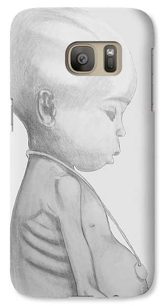 Galaxy Case featuring the drawing Starved African Girl by Justin Moore