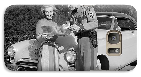 Galaxy Case featuring the photograph State Patrolman Assists Young Woman Traveler 1951 by Merle Junk