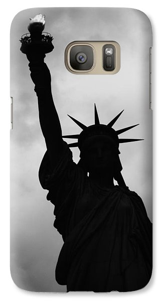 Galaxy Case featuring the photograph Statue Of Liberty Silhouette by Dave Beckerman