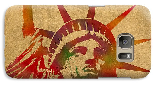 Statue Of Liberty Watercolor Portrait No 2 Galaxy S7 Case by Design Turnpike