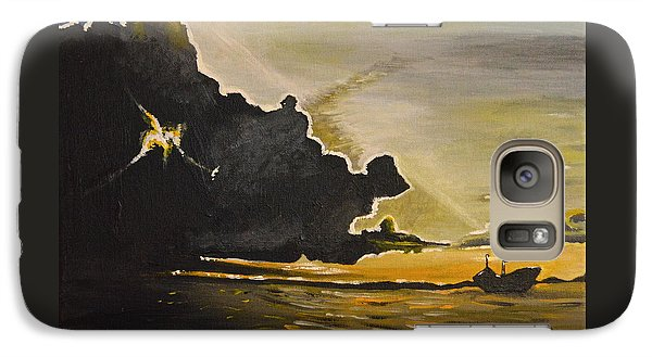 Galaxy Case featuring the painting Staying Ahead Of The Storm by Donna Blossom