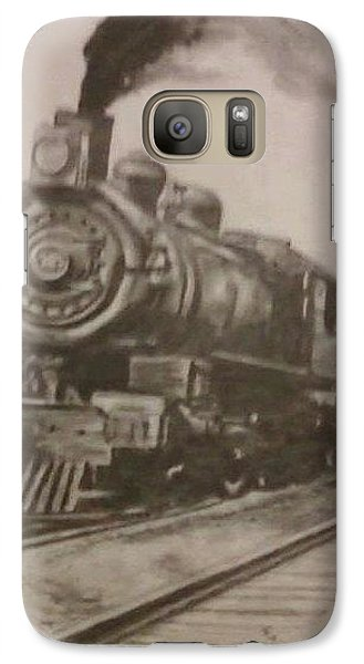Galaxy Case featuring the drawing Steam Locomotive by Thomasina Durkay