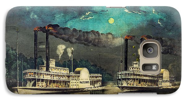 Galaxy Case featuring the digital art Steamboat Racing On The Mississippi by Lianne Schneider