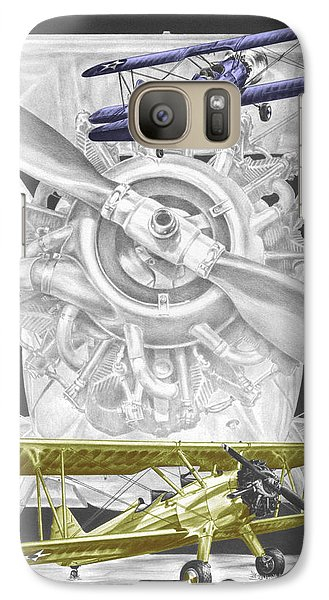 Galaxy Case featuring the drawing Stearman - Vintage Biplane Aviation Art With Color by Kelli Swan