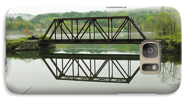 Galaxy Case featuring the photograph Vermont Steel Railroad Trestle On A Calm  Misty Morning by Sherman Perry