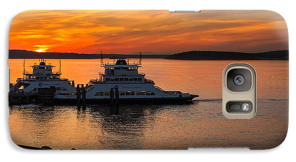 Galaxy Case featuring the photograph Steilacoom Ferry's At Sunsets by Rob Green