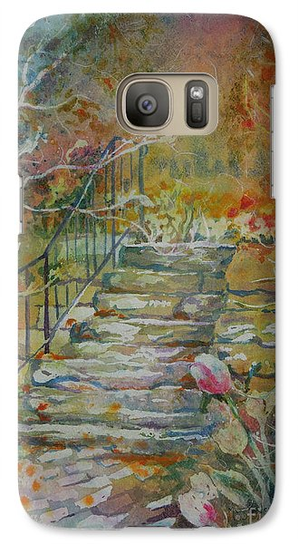 Galaxy Case featuring the painting Steps And Tulips by Mary Haley-Rocks