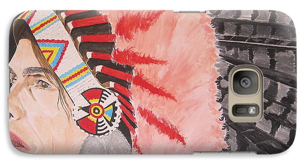 Galaxy Case featuring the painting Steven Tyler As A Chrerokee Indian by Jeepee Aero