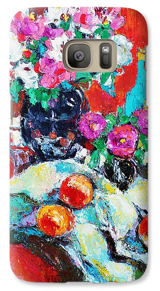 Galaxy Case featuring the painting Still Life In Studio With Blue Bottle by Becky Kim