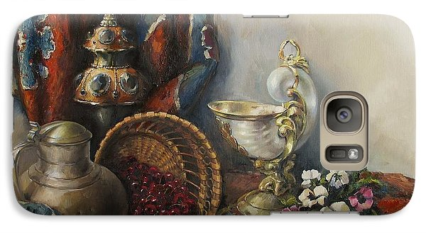 Galaxy Case featuring the painting Still-life With Pansies by Tigran Ghulyan