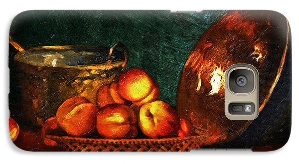 Galaxy Case featuring the digital art Still Life With Peaches And Copper Bowl by Lianne Schneider
