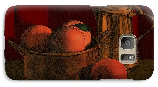 Galaxy Case featuring the drawing Still Life With Peaches by Meg Shearer