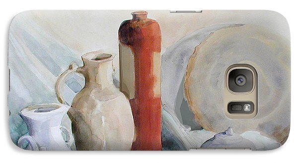 Galaxy Case featuring the painting Still Life With Pottery And Stone by Greta Corens