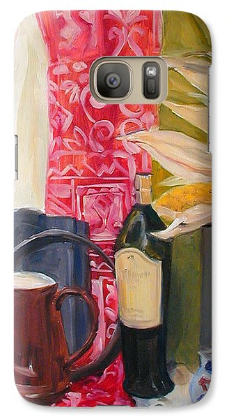 Galaxy Case featuring the painting Still Life With Red Cloth And Pottery by Greta Corens
