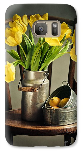Still Life With Yellow Tulips Galaxy S7 Case by Nailia Schwarz