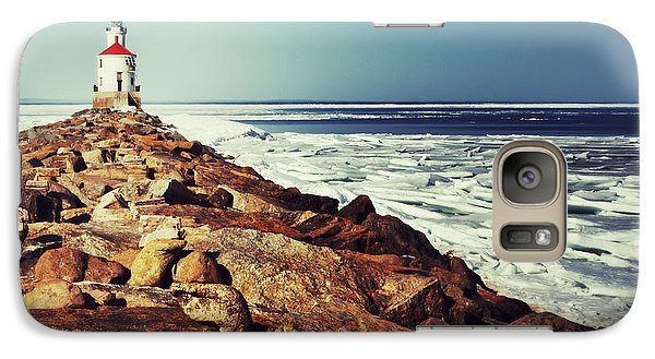 Galaxy Case featuring the photograph Stone And Ice At Wisconsin Point by Mark David Zahn