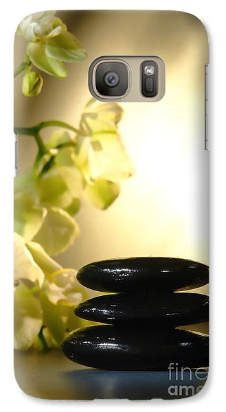 Orchid Galaxy S7 Case - Stone Cairn And Orchids by Olivier Le Queinec