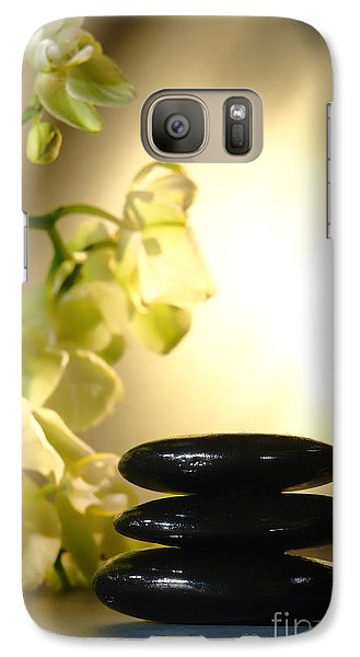 Stone Cairn And Orchids Galaxy Case by Olivier Le Queinec