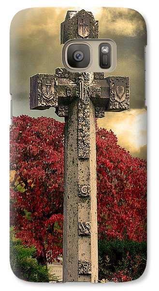 Galaxy Case featuring the photograph Stone Cross In Fall Garden by Lesa Fine