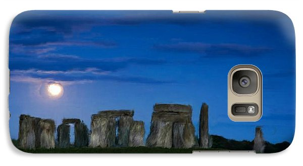 Galaxy Case featuring the painting Stonehenge At Night by Bruce Nutting