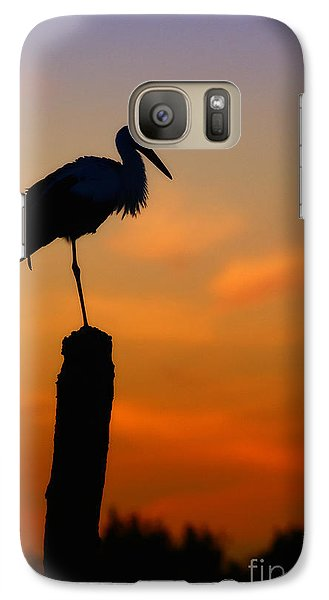 Galaxy Case featuring the photograph Storck In Silhouette High On A Pole by Nick  Biemans