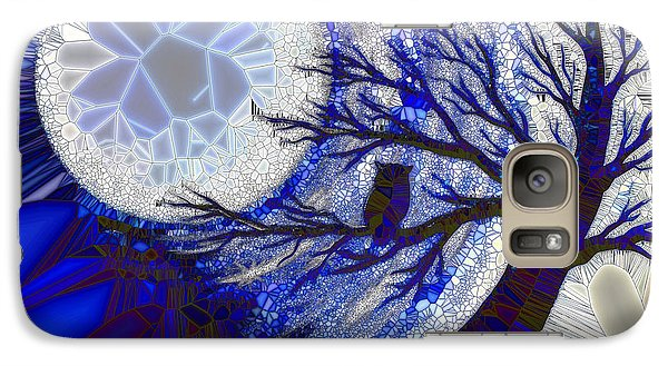 Galaxy Case featuring the painting Stormy Night Owl by Agata Lindquist