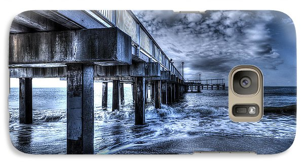 Galaxy Case featuring the photograph Stormy Pier by Rafael Quirindongo