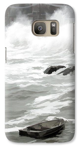 Galaxy Case featuring the photograph Stormy Waves Pound The Shoreline by Jeff Folger