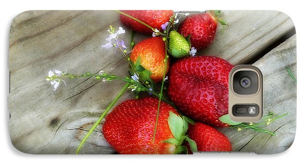 Galaxy Case featuring the digital art Strawberrries by Valerie Reeves