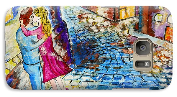 Galaxy Case featuring the painting Street Kiss By Night  by Ramona Matei