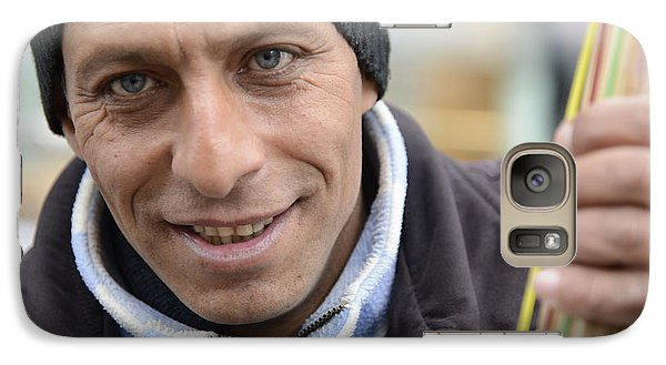 Galaxy Case featuring the photograph Street Musician - The Gypsy Bassist 1 by Teo SITCHET-KANDA