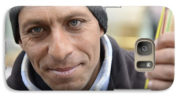 Galaxy Case featuring the photograph Street Musician - The Gypsy Bassist 2 by Teo SITCHET-KANDA