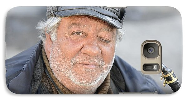 Galaxy Case featuring the photograph Street Musician - The Gypsy Saxophonist 2 by Teo SITCHET-KANDA