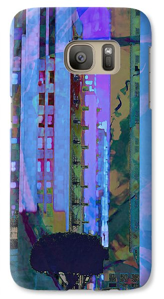 Galaxy Case featuring the mixed media Street Scene La Blue by John Fish