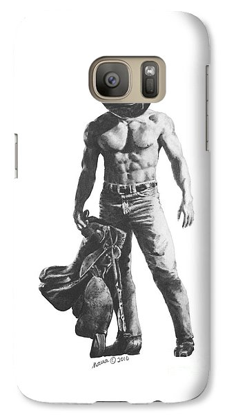 Galaxy Case featuring the drawing Strength Of A Cowboy by Marianne NANA Betts