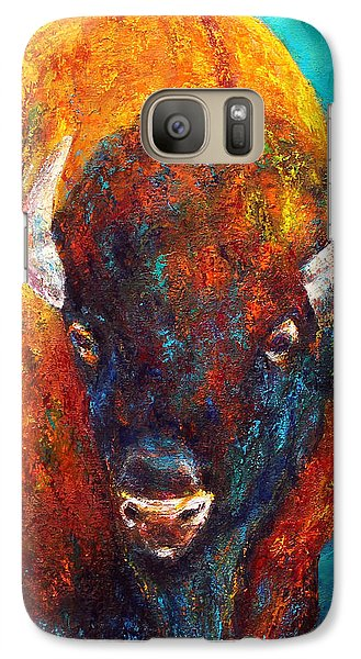 Galaxy Case featuring the painting Strength Of The Bison Facial by Jennifer Godshalk