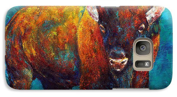 Galaxy Case featuring the painting Strength Of The Bison by Jennifer Godshalk